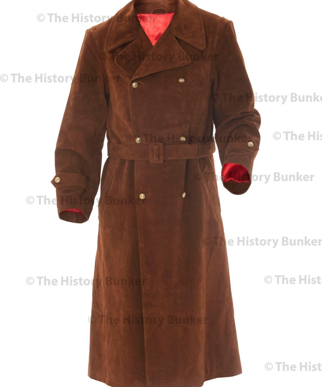 WW2 German Army Senior officer leather trench coat - brown suede