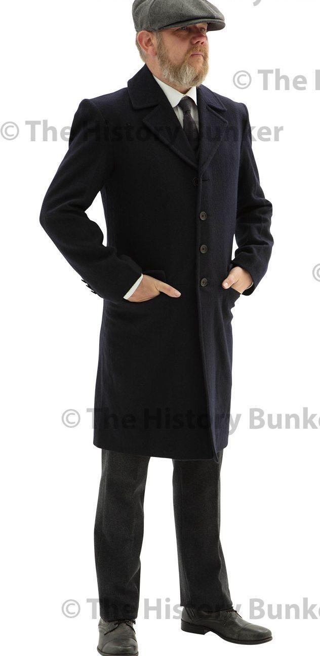 Edwardian Civilian single breasted overcoat - BLUE